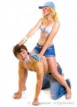 Girl having a piggyback ride