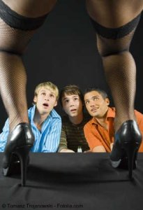 men looking at stripper