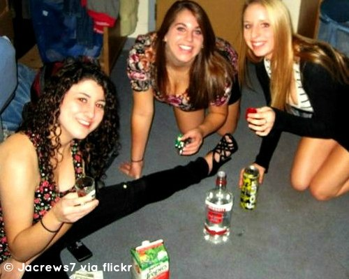 girls playing drinking games