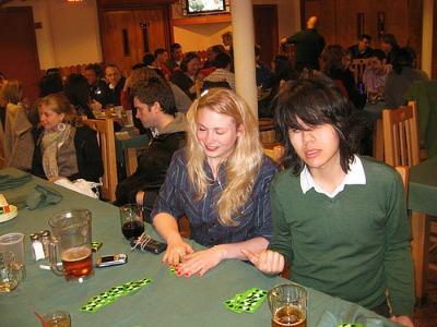 Girls playing card games