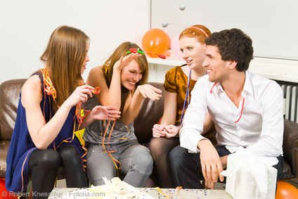 Group of friends at a Truth or Dare party