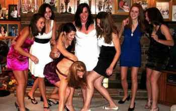 Large group of girls having fun at a party