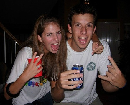 A young couple ready to play drinking games