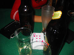 Drinking Card Games Some Beer Bottles with a Deck of Cards for a Game of Beer Poker