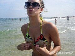 Truth or Dare Pics Bikini Girl wearing a coconut bra