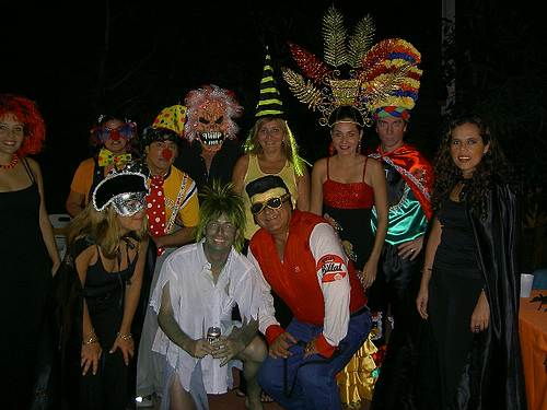 wearing funny costumes in a carnival party