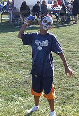 Little kid in skeleton makeover