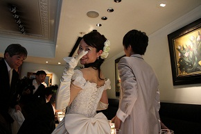 bride on her wedding party