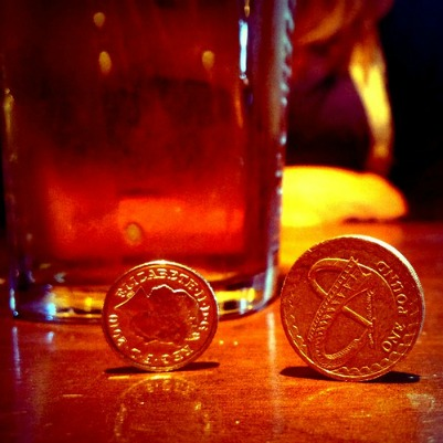 Some coins with a glass of beer