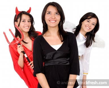 Girls in Angel and Devil Costumes