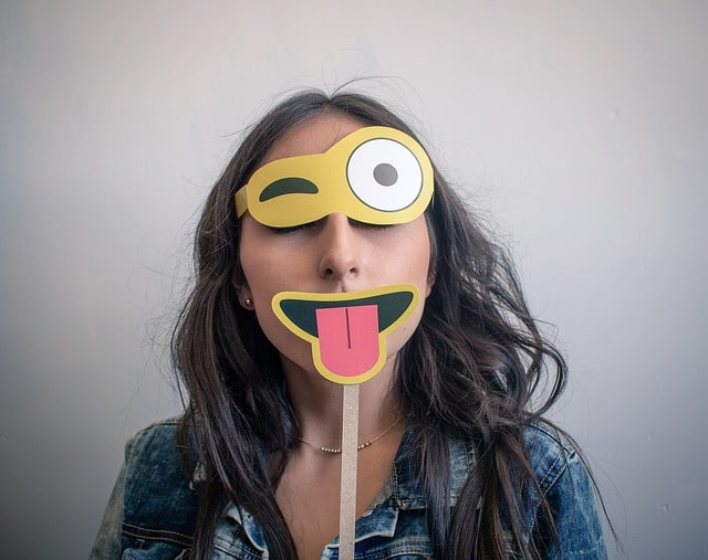 Funny woman with fake mask