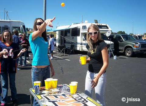 Girls playing beer pong!