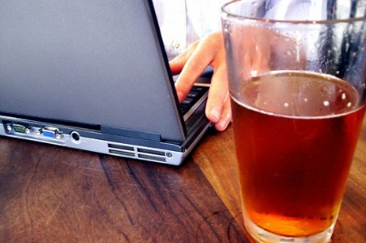 A glass of Beer with laptop