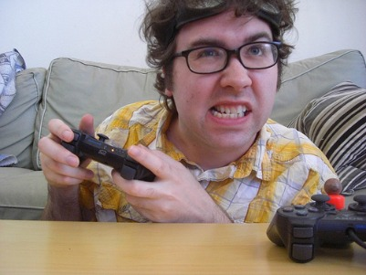 Guy Playing a Fun Video Game