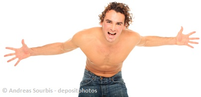 handsome half naked guy shouting