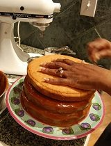 baking a hand made cake for the party