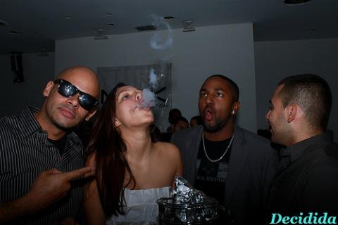 girl smoking shisha at party