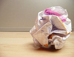 A piece of crumpled paper