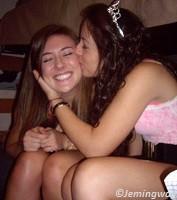 Girls kissing on the cheeks