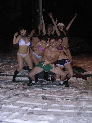 These guys sure have fun being half naked in the snow!