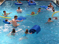 teamwork games Pool party games Playing games with pool noodles
