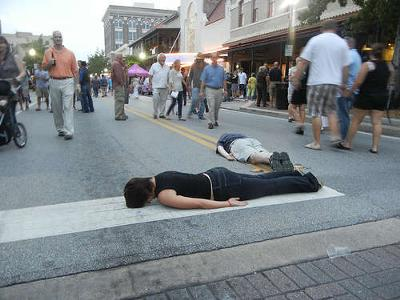 Planking in the middle of the road