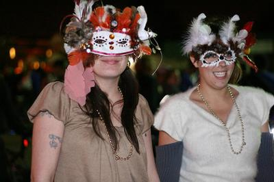 Girls Wearing Mardi Gras Masks