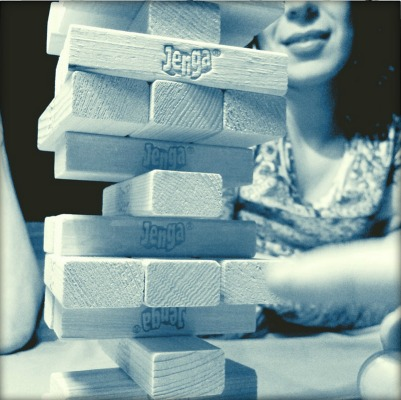 Girl playing truth or dare jenga