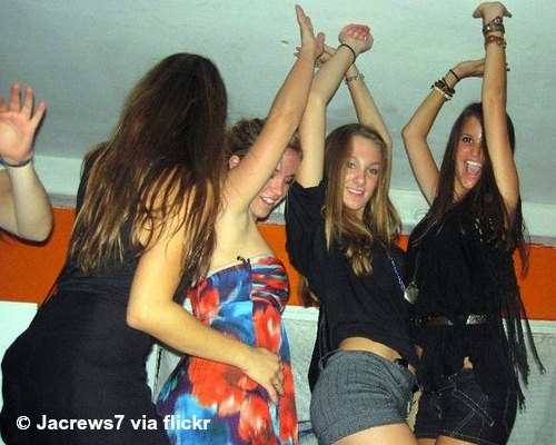 Girls dancing at a party