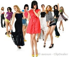 A lot of hot women doing a fashion show pose