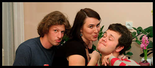 A group of 3 friends making funny faces