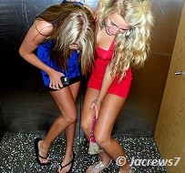 blonde girls fooling around in elevators