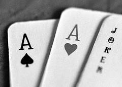 A Playing Cards Combination of Two Aces and a Joker