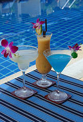 Swimming pool cocktail and drinks