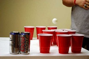 a way to setup glasses for beer pong