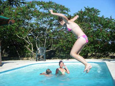 The girls dared me to jump into the pool