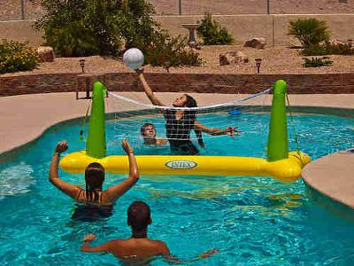 Playing Pool Volleyball at your private pool party