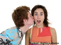 a teenage guy is dares to kiss a girl without telling her