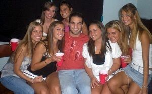 Lucky guy with a lot of college girls