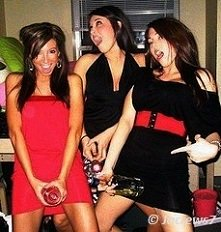 Girls fooling around with bottle